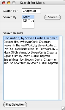 Image of Talking TitleTrack Search For Music Window shows results for a search for 'Chapman'